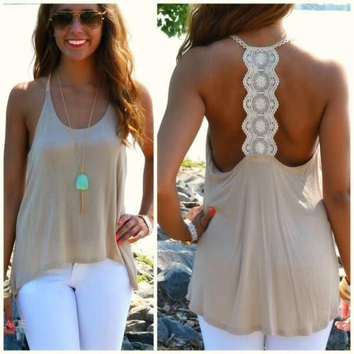 Spring Outfit - Crochet Back Top - White Jeans