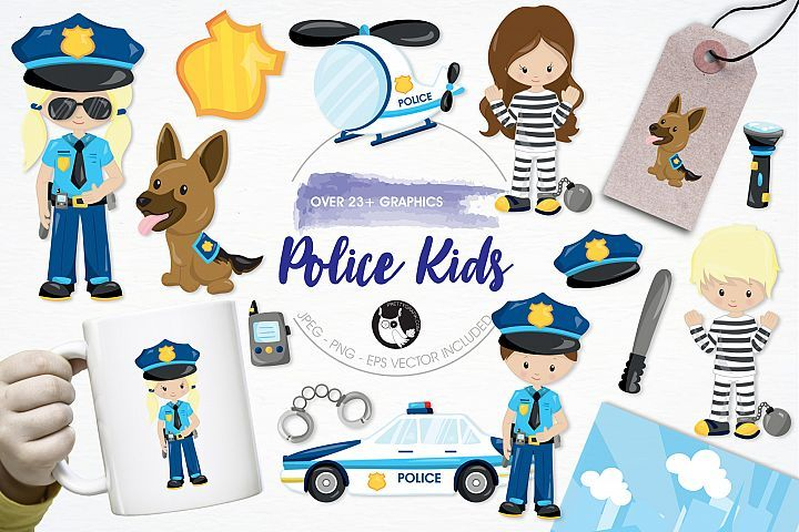 Police Kids graphics and illustrations