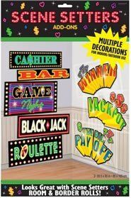 "Casino Signs Add-Ons by Grim Reapers. $4.55. Kids' Party Supplies. Casino. Package includes 8 casino signs on 2 large plastic sheets. Signs include: Winner, Jackpot, Ca$hier, Bar, Game Night, Roulette, Black Jack and The Big Pay Off. Includes 2 sheets that each measure approximately 33.5"" wide x 65"" high. Keep that decoration secure on the wall with Sticky Tack (sold separately). For indoor and outdoor use.. Save 15% Off!"