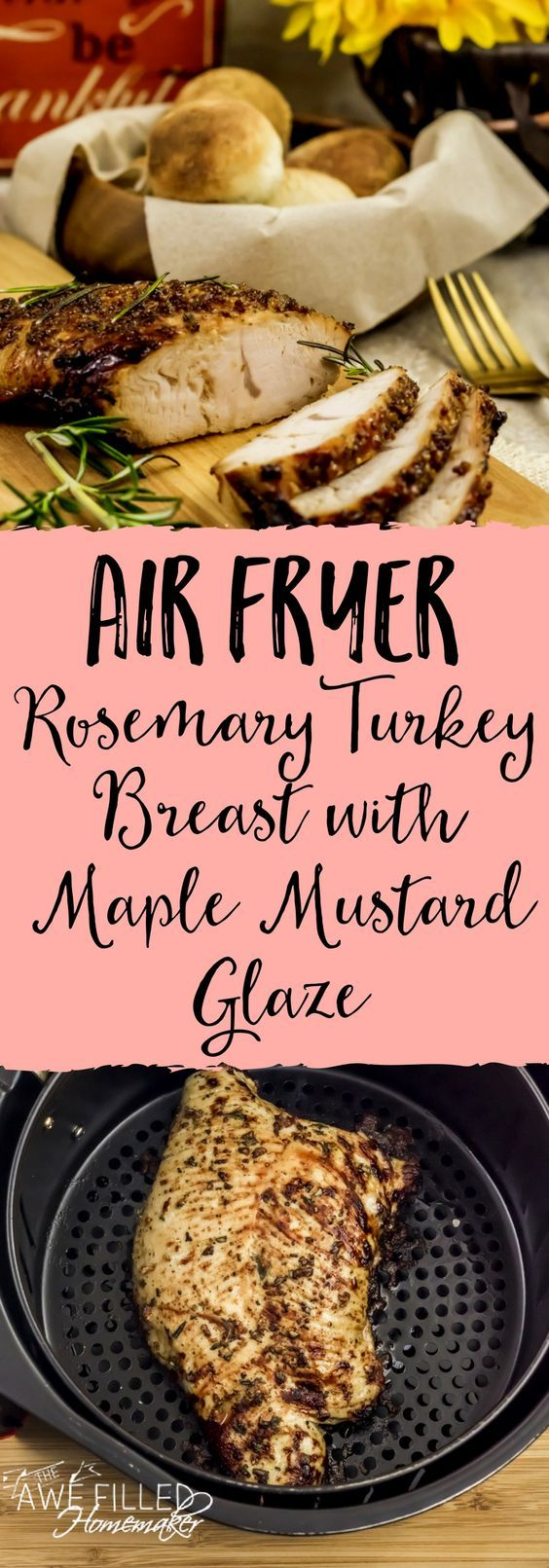 Get ready for the holidays or anytime really with this low carb, high protein Air Fryer Rosemary Turkey Breast with Maple Mustard Glaze recipe! It is perfect! #AirFryer #Turkey #Lowcarb #Paleo #protein via @AFHomemaker