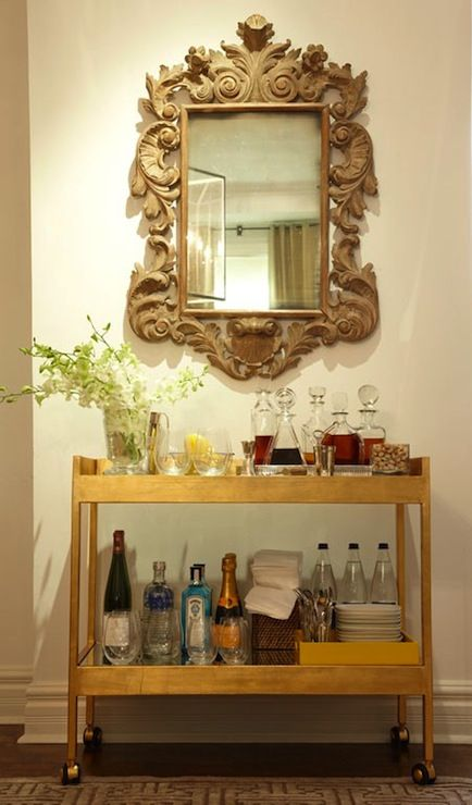 House & Home - dining rooms - \brass, bar cart, gold bar cart, metal bar cart, industrial bar cart, carved wood mirror,  Carved wood mirror and