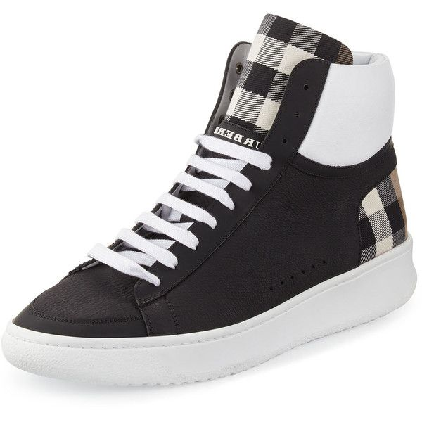 Burberry Lockhart Check & Leather High-Top Sneaker ($575) found on Polyvore featuring men's fashion, men's shoes, men's sneakers, black, burberry mens shoes, mens high top shoes, mens leather lace up shoes, mens black sneakers and mens black high top shoes