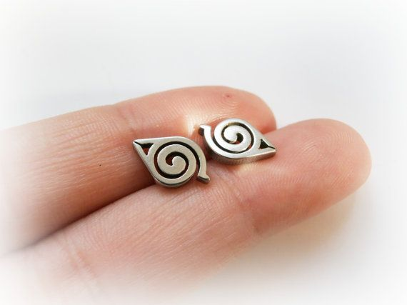 Naruto studs  Naruto sterling silver post earrings  by FoxInTheBox, $35.00