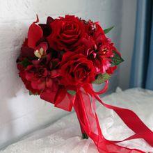Hecho a mano de Calidad Superior de La Novia Ramo de Novia de La Boda de dama de Honor de Europa Ee.uu. Rojo Rosa Callas Flor Artificial 2015(China (Mainland))