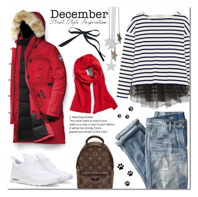 """""""Warm Deceber Street Style"""" by laurajanekatriina ❤ liked on Polyvore featuring Canada Goose, NIKE, J.Crew, Halogen, Louis Vuitton and Marni"""