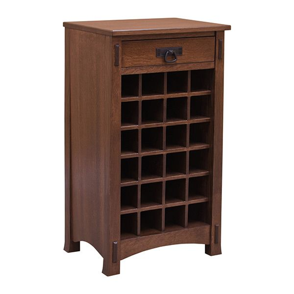 This simple crafted Wine Rack is built in the United States. Even the Quartersawn White Oak wood that is used in this beautiful unit is harvest and Kiln dry here in the US. This is a perfect item for someone that has a craftsman style décor. As shown, it is finish in the OCS 226 Coffee. Now you can store your favorite wine with ease and style that compliments your surrounding Arts & Crafts furniture.