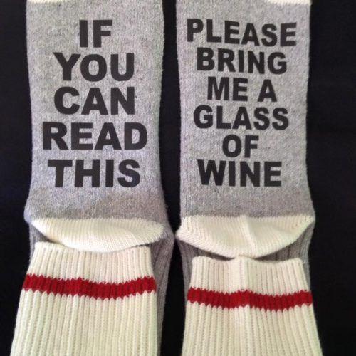 PLEASE BRING ME A GLASS OF WINE SOCKS