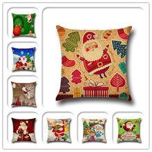 Papai Noel Cervos dos desenhos animados Impresso Algodão mistura de linho de Algodão Lance de Natal Início Decorativa Cotton Linen Almofada 43x43 cm travesseiro