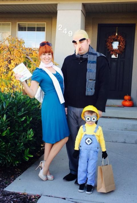 "Despicable Me 2 : You can't go wrong with minions. Put the youngest in yellow - €""with overalls of course - €and DIY Gru's nose to get his character just right. This fun and creative family Halloween costume is a great for big and small families because you can add as many minions you want! Find more inexpensive, creative, and easy DIY family costumes here."