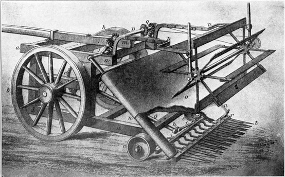 This is the industrial revolution reaper. It was used to harvest grain faster than any human or many humans. It was invented in 1834. It was invented by Cyrus McCormick.