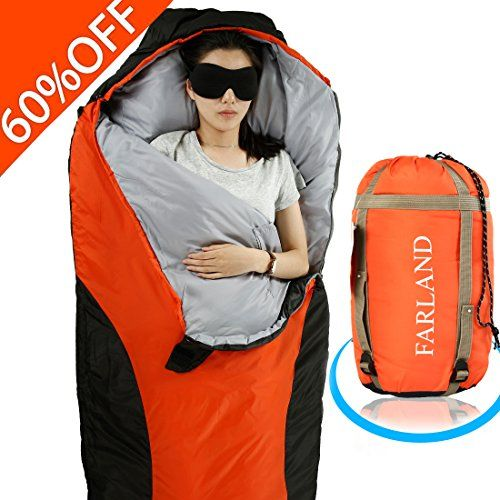 FARLAND Lightweight Sleeping Bag& Portable Waterproof Mummy Bag With Compression Sack -Perfect for Summer Traveling, Camping, Hiking,Outdoor Activities ( Red & Black / Left Zip). For product info go to:  https://all4hiking.com/products/farland-lightweight-sleeping-bag-portable-waterproof-mummy-bag-with-compression-sack-perfect-for-summer-traveling-camping-hikingoutdoor-activities-red-black-left-zip/