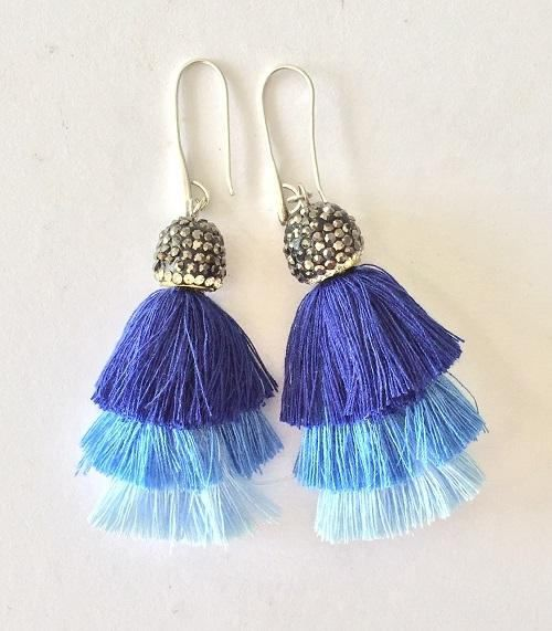Tassel Earrings with strass cap in triple blue hues bohemian
