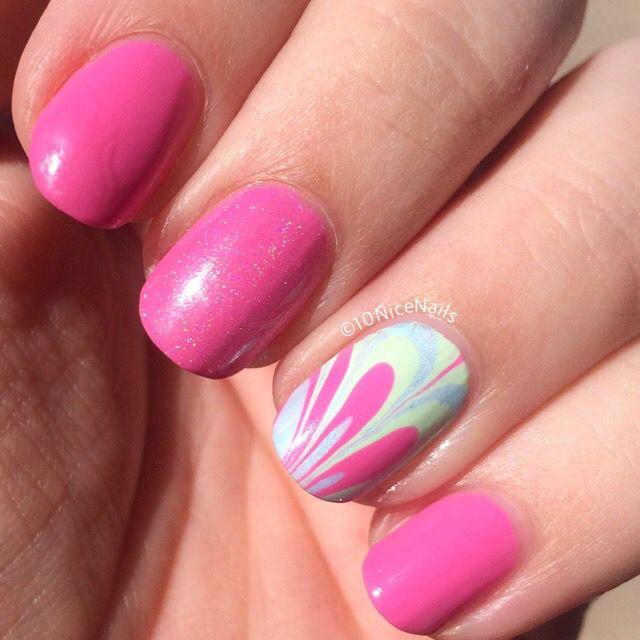 nail art - water marble