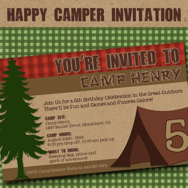 Camping Invitation Party Birthday Invitation