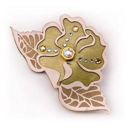 """Camelia"" leather brooch laser cut and engraved  #swarovski #gold #salmon #peach #beige #floral #elegant"