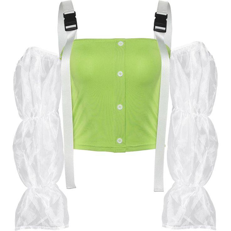 Transparent sleeves straps green black slim top