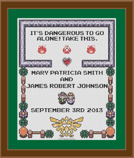 Legend of Zelda  Wedding Sampler  Cross Stitch by SpritelyStitches, $15.00.  Finished and gifted to DS & VS.