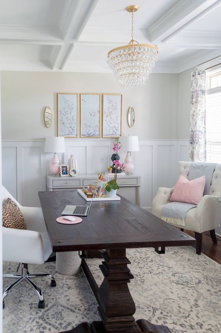 chic and girly home office with farmhouse trestle table diy gold rh pinterest com