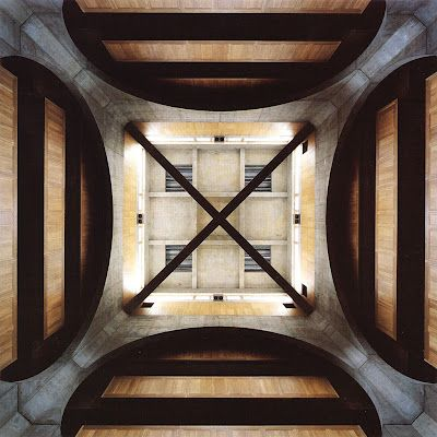 when symmetry pattern meets with light, indoor space get more attention to the celling  Louis Kahn - Exeter Library