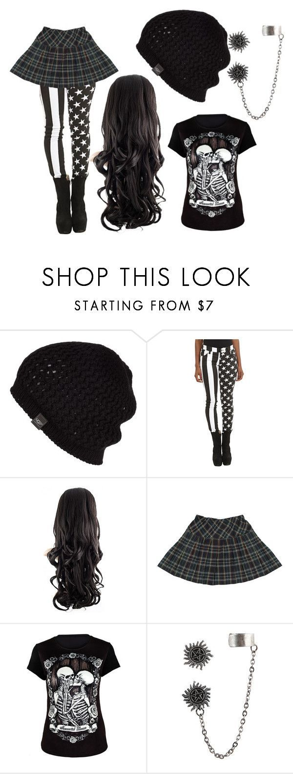 """Stars, Skulls, & Stripes"" by xxxjewelzxxx ❤️ liked on Polyvore featuring UGG Australia, Tripp, emo, scene, Punk and alternative"