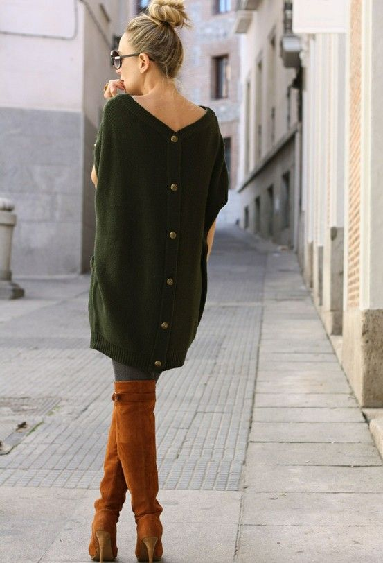 sweater dress+great boots.