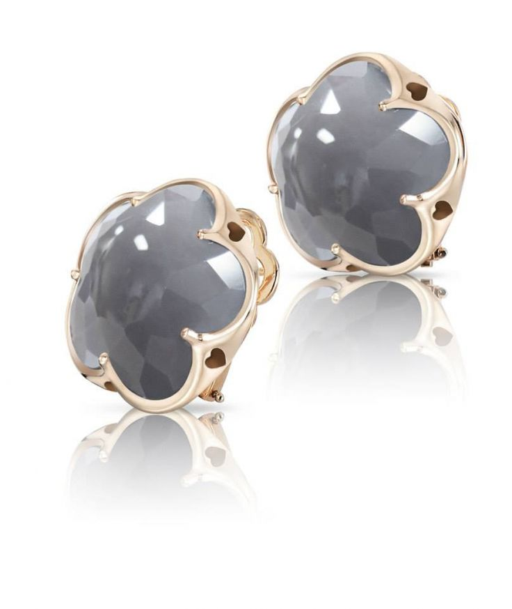 Pasquale Bruni earrings Bon Ton Fiore collection smoky quartz and red gold 18 ct - Casa Capone Jewelry