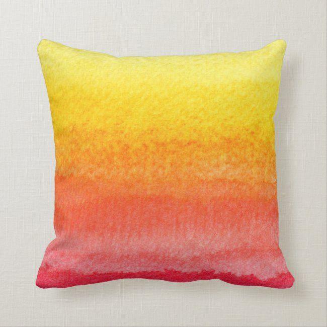 Bold Bright Orange Yellow Ombre Watercolor Throw Pillow Zazzle Com Bright Throw Pillow Throw Pillows Bright Colored Throw Pillows
