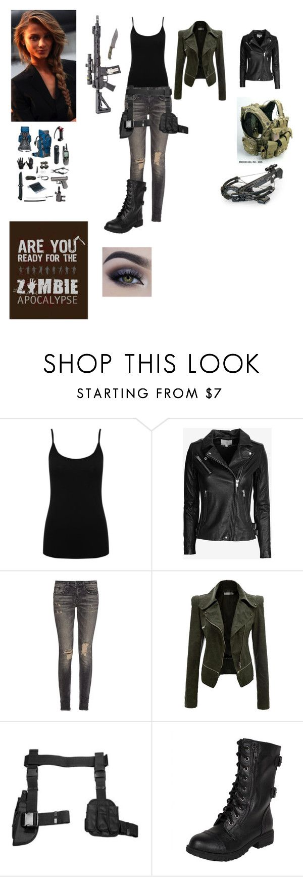 """Zombie Apocalypse Outfit for Women"" by aliciakreb ❤ liked on Polyvore featuring M&Co, IRO and R13"