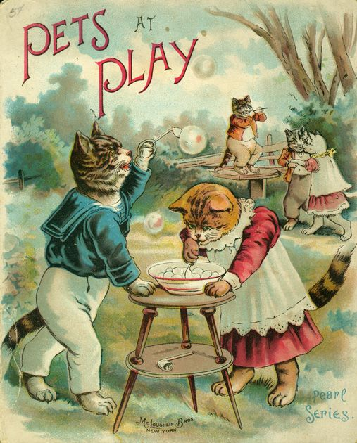vintage children's book with cat cover art