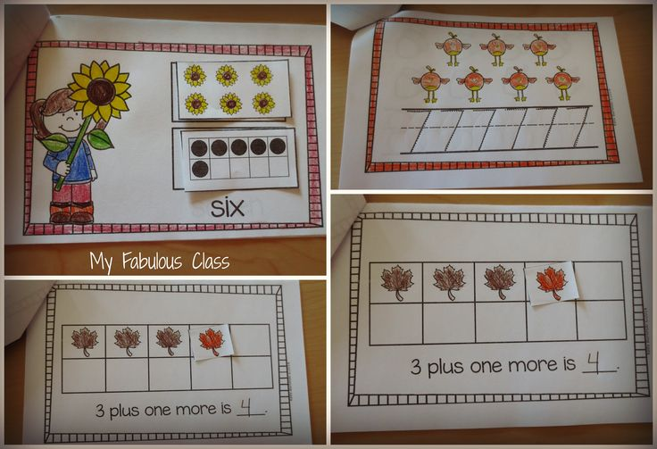 Fall Interactive Math Books. Work on number sense, number writing, sums of 3, sums of 4, sums of 5: