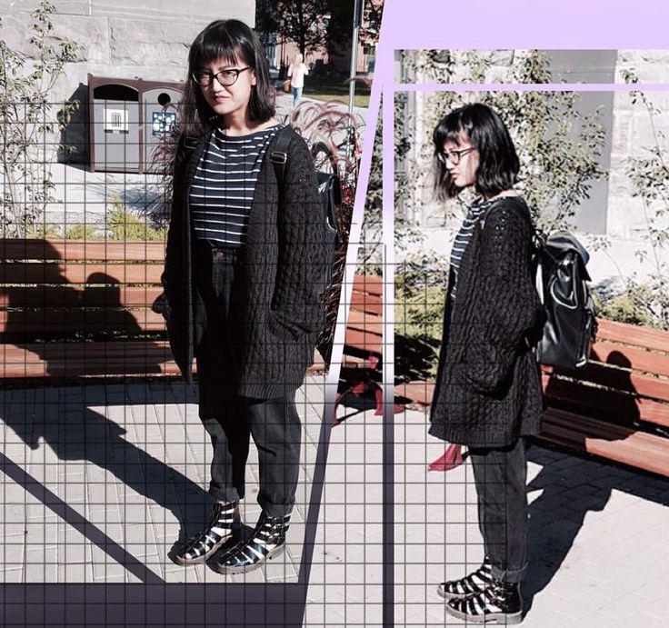 """愛♡FASHION on Instagram: """"#StyleSpotter This is Camilla (@bum.illa) who also goes to Ottawa U. I didn't get to talk to her long cuz she had class to go to but I found out she came to Ottawa from Malaysia. But I like the simplicity and the dark mono colours. Normcore baby✨~ Those shoes were one of my faves! She's wearing a chunky knit cardigan from @hm over a striped shirt, black @levis mom jeans, and @TBAshoes Arrows sandal boots from @solestruck..."""" ...More on IG"""