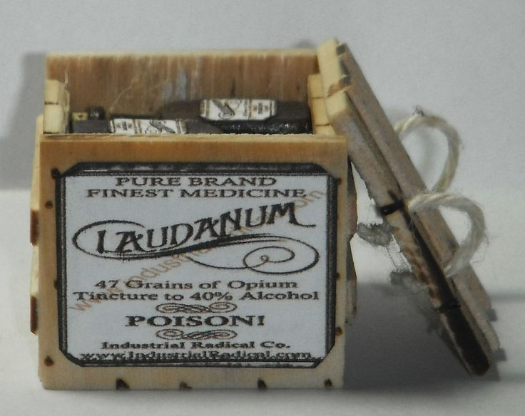 Dollhouse miniature handcrafted 1/12th scale laudanum crate filled bottles wood #NorthernLitesMiniatures