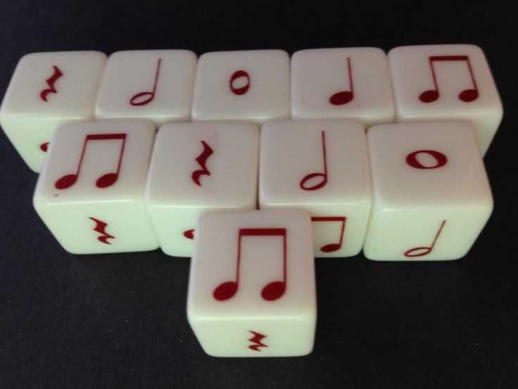 This is a set of 10 Notes. Each dice contains rhythm values from quarter note to whole note. Sold as a set of 10 dice.