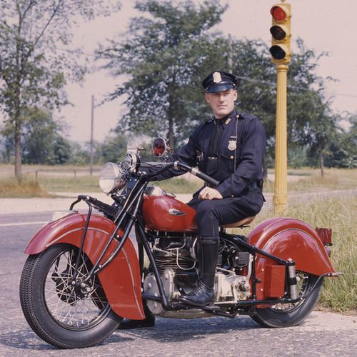 Motor Officer on an unmarked Indian Motorcycle