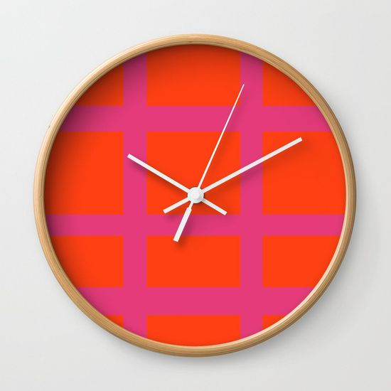 Thick Orange and Pink Grid Wall Clock by Bravely Optimistic | Society6