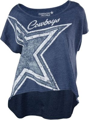 #DallasCowboys Women's Heathered Navy Wide Neck Open Sleeve Channing T-Shirt