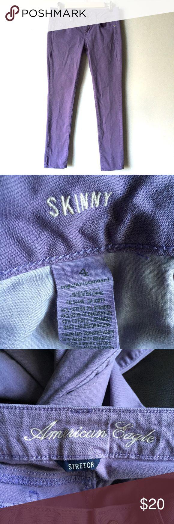 American Eagle Lavender Purple Skinny Jeans Size 4 American Eagle Lavender Purple Skinny Jeans. Size 4 regular. 98% cotton, 2% spandex. Excellent condition. American Eagle Outfitters Jeans Skinny