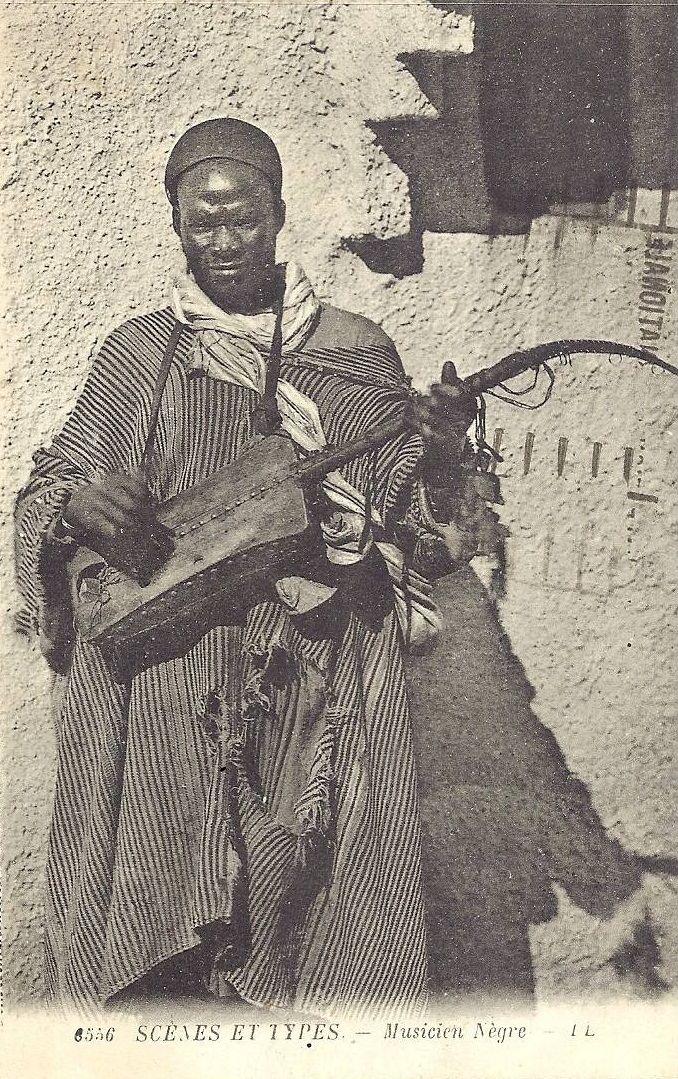 Vintage photo Moroccan Gnawa musician.