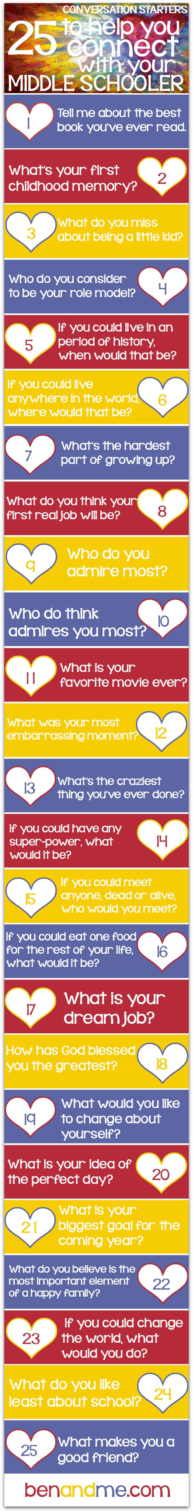 25 conversation starters to help you connect with your middle schooler.