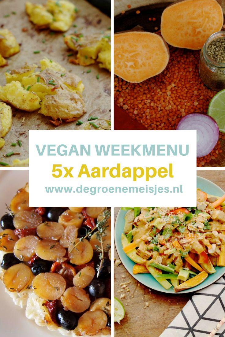 5 vegan recepten met aardappel in dit vegan weekmenu van De Groene Meisjes met o.a. Crispy smashed potato met salade, Aziatische aardappelschotel, Thaise linzensoep, Aardappeltaartje, Frietjes met zoete aardappelfalafel