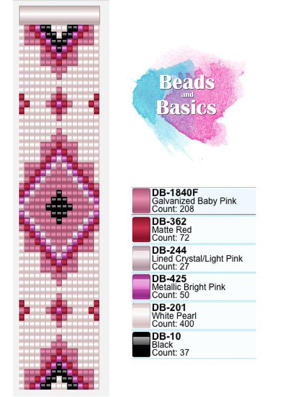 pink statement bracelet miyuki delica beadloom pattern - patronen voor weefarmbandjes