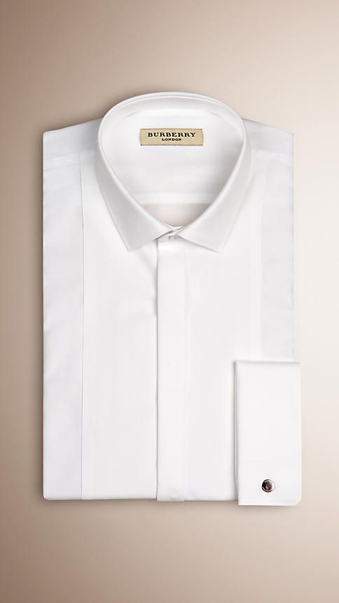 White Modern Fit Double-cuff Cotton Dress Shirt - Image 3