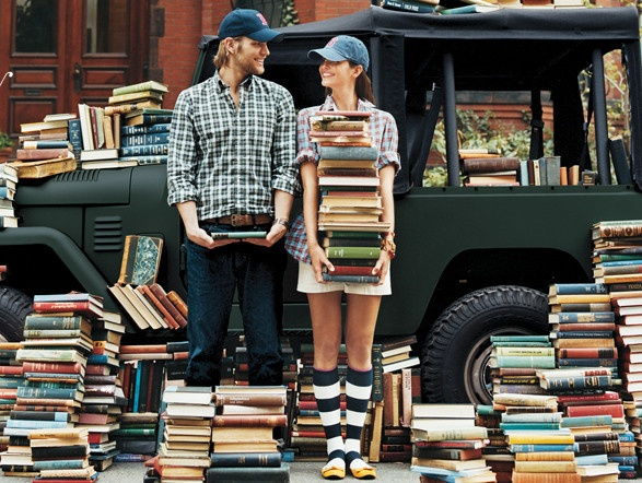 We would be dressed different and would be holding equal sized book piles, but I think this would make a good picture