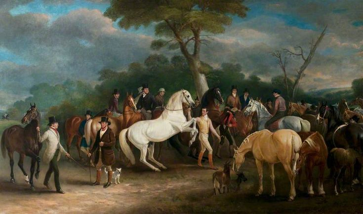 Melton Mowbray Horse Fair  John E. Ferneley I (1782–1860)  County Hall, Leicestershire County Council Civic Collection