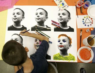 children's art projects | Aun created an Andy Warhol-style self-portrait during…