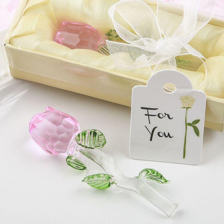 Crystal Long Stem Pink Rose Wedding Favors