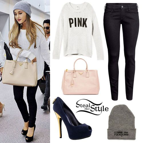 Ariana Grande arrived at Narita International Airport in Japan yesterday wearing her Victoria's Secret PINK Cozy Sweater (sold out), jeans similar to the H&M Skinny Low Jeans ($9.95), a pair of Louis Vuitton Oh Really! Pumps ($830.00), a The Cut Commes Des Fuckdown Beanie ($35.00) and a Prada Saffiano Tote Bag ($2,350.00)