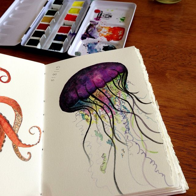 Jellyfish watercolor. I need to buy this. This artist is amazing. --- says me. - I need to paint it. I am too cheap to buy others artwork. Lol
