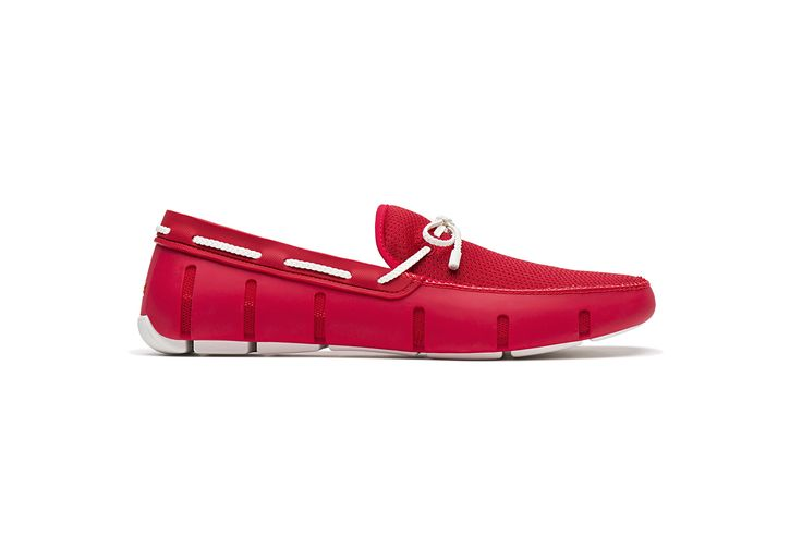 SWIMS Men's Braided Lace Loafer for Pool - Red / White, 11
