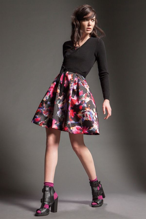 Naughty Dog FW15 flower print dress and black cardigan